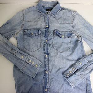 J Crew Indigo Pearl Snap Long Sleeve Shirt Western
